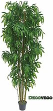 Bambus Groß Kunstbaum Kunstpflanze Künstliche Pflanze mit Echtholz 210cm Decovego