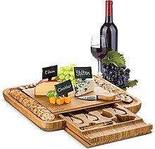 Bambus-Käsebrett und Besteck Set, Holz-Teller,