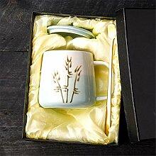 Bambus Kaffee Keramik Becher Mit Deckel Löffel