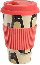 Bambus Kaffeebecher  Coffee To Go mit Katzen-Motiv