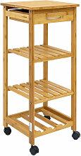 Bambus Küchenwagen 37x37x85 Servierwagen Holz
