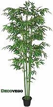 Bambus Kunstbaum Kunstpflanze Künstliche Pflanze mit Echtholz 210cm Decovego