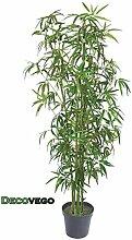 Bambus Kunstbaum Kunstpflanze Künstliche Pflanze mit Echtholz 180cm Decovego