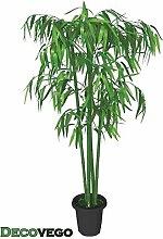 Bambus Kunstpflanze Kunstbaum Künstliche Pflanze mit Echtholz 140cm Decovego