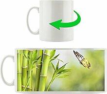 Bambus mit kleinem Schmetterling, Motivtasse aus