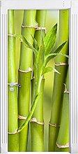 Bambus mit Schmetterling als Türtapete, Format: 200x90cm, Türbild, Türaufkleber, Tür Deko, Türsticker