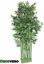Bambus Sichtschutz Element Stand Künstliche Pflanze mit Echtholz 200cm Decovego