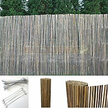 Bambus Sichtschutzmatte Windschutz Bambusmatte Sichtschutz Garten-Zaun Natur (100 cm Höhe, 4m Länge)