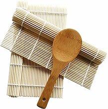 Bambus Sushi Kit Ausrollmatte 2mit Reis Paddel