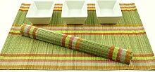 Bambus-Tischsets, 6 Stück, handgefertigt, aus