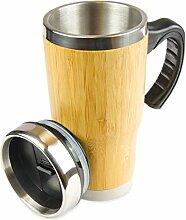 Bambus to-go Becher, 450ml, doppel Wand-Isolierung, Kaffee, Travel Mug, Natur, Bio, perfekt für Heißgetränke, Schokolade, umweltfreundlicher Teegenuß, anti-rutsch Pad, Farbe: Bambus, Edelstahl