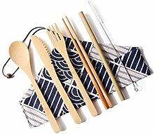 Bambus-Utensils Reise-Besteck-Set, Messer, Gabel,