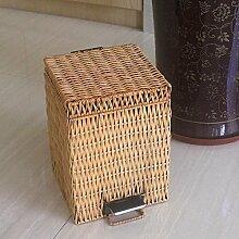 Bambus Weberei Rattan Abfalleimer Haushalt Cover Creative Foot-Typ Trash Can , 3l yellow (17*17*26cm)