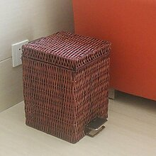 Bambus Weberei Rattan Abfalleimer Haushalt Cover Creative Foot-Typ Trash Can , 6l brown