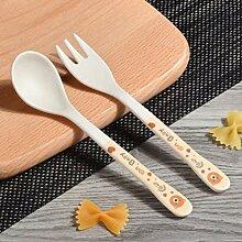 Bambusfaser Baby-Sicherheits-Löffel + Gabel Set