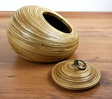 Bambusschale mit Deckel asiatische Dekoschale