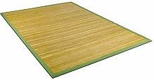 Bambusteppich lasiert mit grüner Bordüre in verschiedenen Größen (150x150cm)