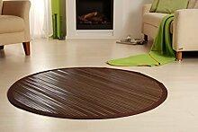 Bambusteppich WENGE 125cm rund, 17mm Stege, Breite