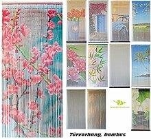 Bambusvorhang Türvorhang, Insektenschutzvorhang, 90cm x 200cm mit Aufhängeleiste, Innen und außen, mehrere Modelle, von MadeInNature® (Modèle 4 Rideau Fleuri)