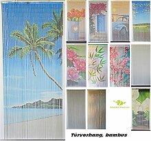 Bambusvorhang Türvorhang, Insektenschutzvorhang, 90cm x 200cm mit Aufhängeleiste, Innen und außen, mehrere Modelle, von MadeInNature® (Modèle 10 Rideau des iles)