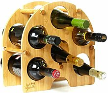 bambuswald© rundes Weinregal für 6 Flaschen aus