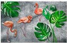 Bananenblatt-Tapete, tropische Flamingo-Wandbild,