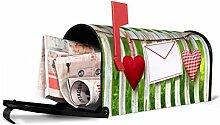 banjado - Amerikanischer Briefkasten 17x22x51cm US Mailbox mit Motiv Gartenzaun, Briefkasten ohne Standfuß