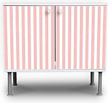 banjado - Badschrank 60x55x35cm Waschtisch Unterschrank weiß höhenverstellbar mit Motiv Streifen Rosé