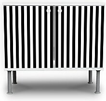 banjado - Badschrank 60x55x35cm Waschtisch Unterschrank weiß höhenverstellbar mit Motiv Streifen Schwarz