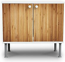 banjado - Badunterschrank 60x55x35cm Design Waschbeckenunterschrank mit Motiv Bambusholz