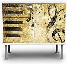 banjado - Badunterschrank 60x55x35cm Design Waschbeckenunterschrank mit Motiv Music