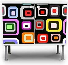 banjado - Badunterschrank 60x55x35cm Design Waschbeckenunterschrank mit Motiv Retro