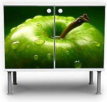 banjado - Badunterschrank 60x55x35cm Design Waschbeckenunterschrank mit Motiv Grüner Apfel