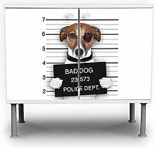 banjado - Badunterschrank 60x55x35cm Design Waschbeckenunterschrank mit Motiv Bad Dog Jack Russel