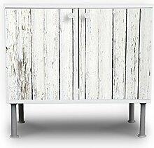 banjado - Badunterschrank 60x55x35cm Design Waschbeckenunterschrank mit Motiv Weißer Bretterzaun