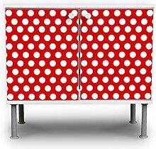 banjado - Badunterschrank 60x55x35cm Design Waschbeckenunterschrank mit Motiv Punkte Ro