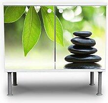 banjado - Badunterschrank 60x55x35cm Design Waschbeckenunterschrank mit Motiv Steine&Relax