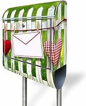 banjado - Briefkasten mit Edelstahl Ständer 38x150x12cm Postkasten mit Motiv Gartenzaun