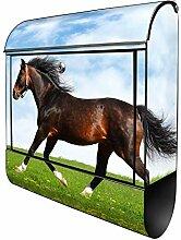 Banjado Design Briefkasten mit Motiv Pferd | Stahl