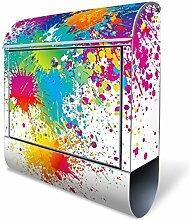 BANJADO Design Briefkasten mit Zeitungsfach, 2 Schlüssel, A4 Einwurf, silber pulverbeschichtet, mit Motiv Farbspritzer