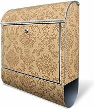 BANJADO Design Briefkasten mit Zeitungsfach, 2 Schlüssel, A4 Einwurf, silber pulverbeschichtet, mit Motiv Tapete