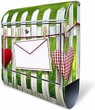 BANJADO Design Briefkasten mit Zeitungsfach, 2 Schlüssel, A4 Einwurf, silber pulverbeschichtet, mit Motiv Gartenzaun