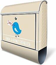 BANJADO Design Briefkasten mit Zeitungsfach, 2 Schlüssel, A4 Einwurf, silber pulverbeschichtet, mit Motiv WT Liebesbrief