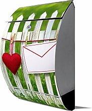 banjado - Design Edelstahl Briefkasten 30cmx45cmx14cm mit Motiv Gartenzaun