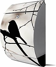 banjado - Design Edelstahl Briefkasten 30cmx45cmx14cm mit Motiv Früher Vogel