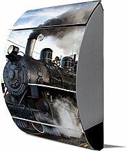 banjado - Design Edelstahl Briefkasten 30cmx45cmx14cm mit Motiv Dampflok