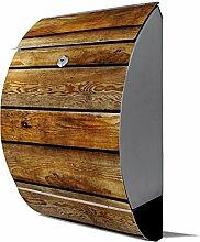 banjado - Design Edelstahl Briefkasten 30cmx45cmx14cm mit Motiv Holzbretter