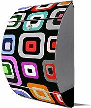 banjado - Design Edelstahl Briefkasten 30cmx45cmx14cm mit Motiv Retro