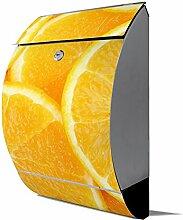 banjado - Design Edelstahl Briefkasten 30cmx45cmx14cm mit Motiv Orangenscheiben