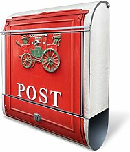 banjado - Design Edelstahl Briefkasten 38x43,5x12,5cm mit Zeitungsfach und Motiv Postkasten Nostalgie